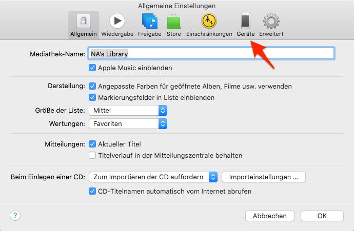 Gerät unter iTunes antippen – Schritt 3