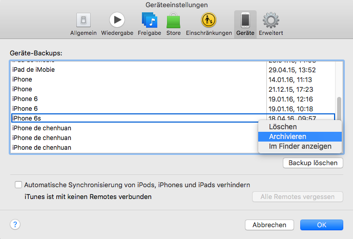 iPhone 6s Backup in iTunes archivieren – Schritt 5