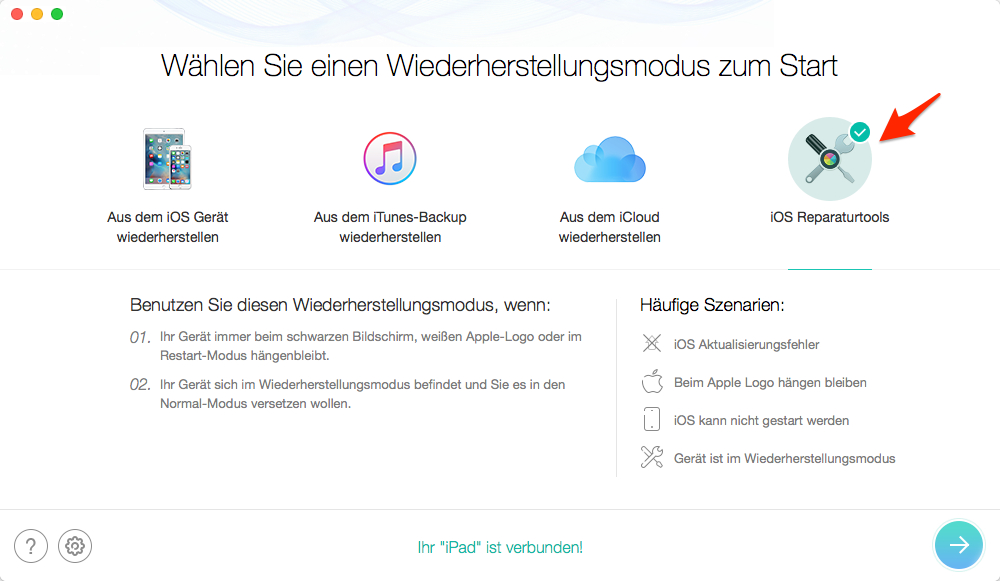 iPhone Bildschirm unter iOS 10/11/11.1 schwarz: Reparaturtools-AnyTrans