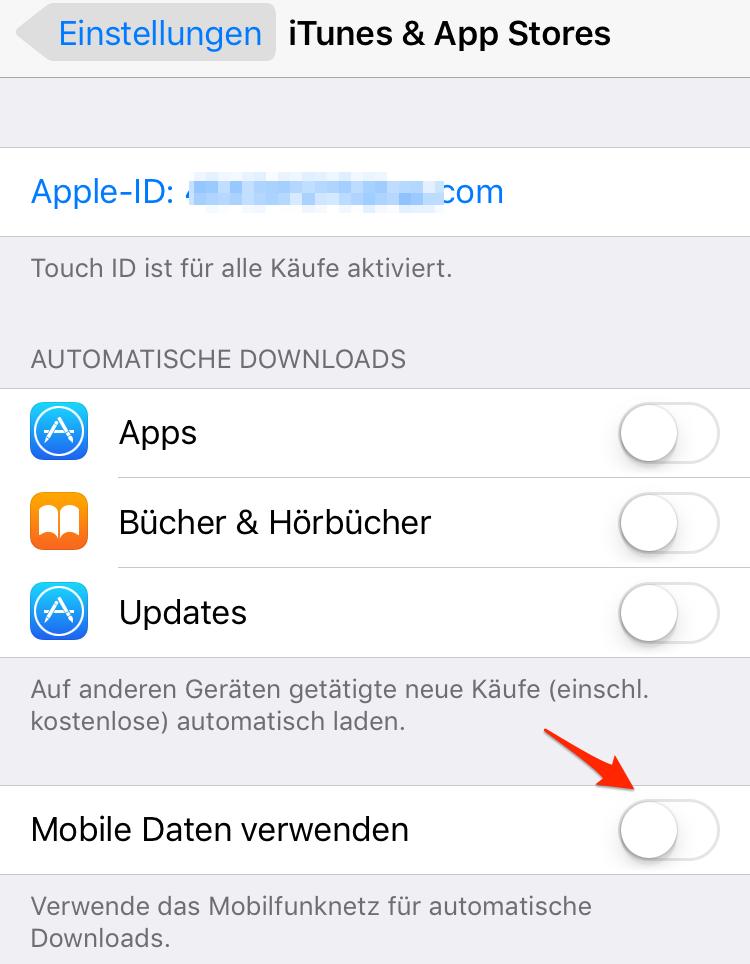 iTunes & App Store - Mobile Dateien deaktivieren