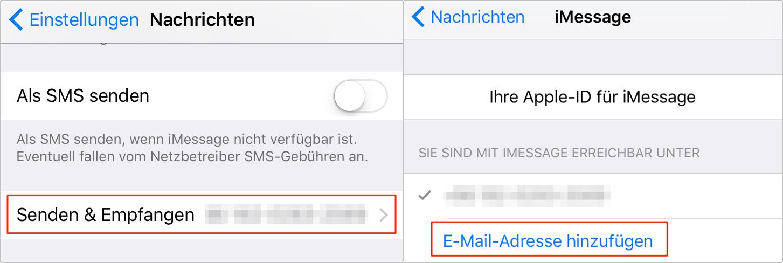 Nachrichten und Senden & Empfangen antippen – Schritt 3