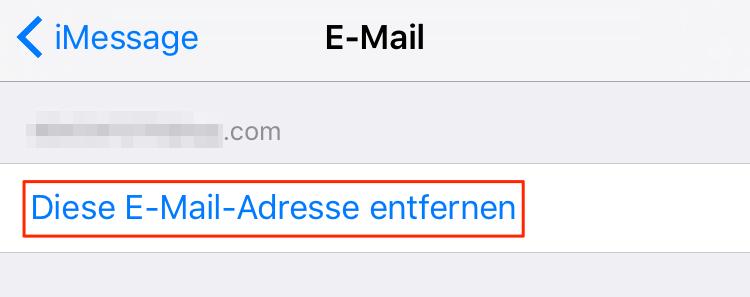 E-Mail Adresse von iMessage entfernen