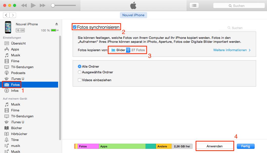 Fotos mit iTunes auf Gerät synchronisieren