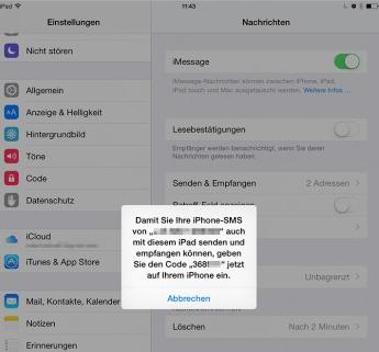 iMessage auf iPad empfangen – Schritt 4