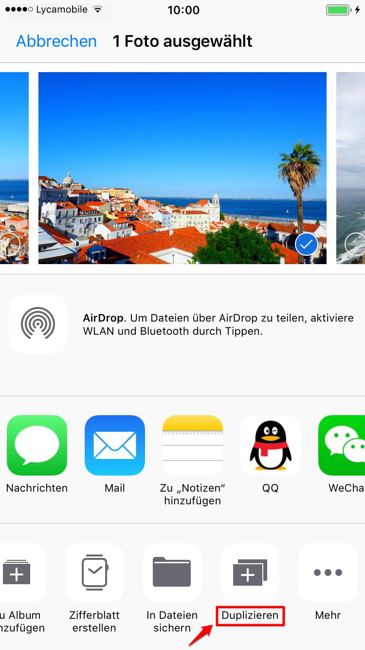 iPad Fotos in Fotos-APP duplizieren – Schritt 2