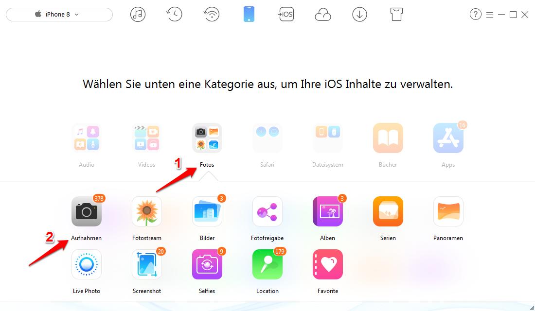 iPhone Fotos selektiv verwalten – Schritt 2