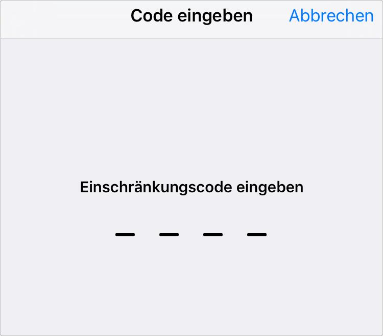 Unter Einschränkungen Code eingeben – Schritt 3