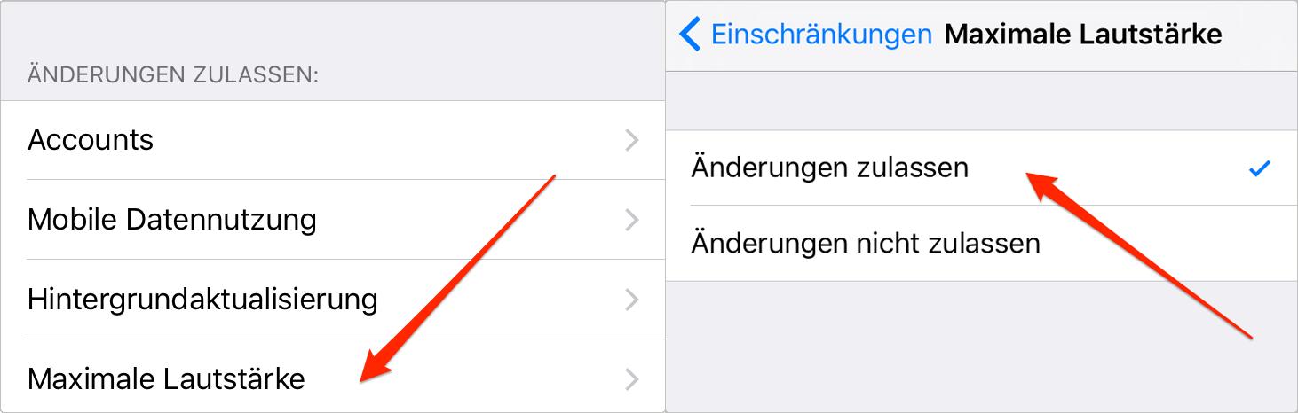 Maximale Lautstärke auf iPhone/iPad festlegen - Schritt 5