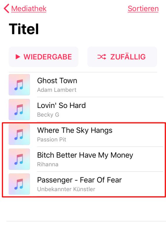 Musik finden - iPhone kann nicht verwendet werden