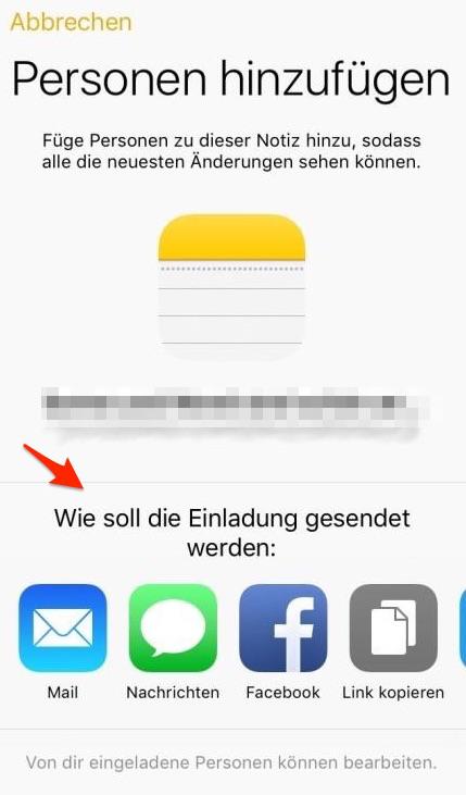 iPhone oder iPad Notizen mit anderen in iOS 10 teilen - Schritt 3
