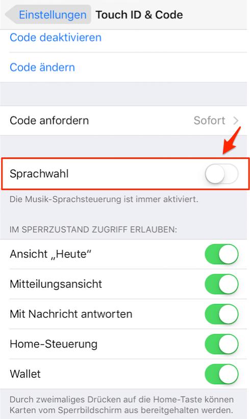 iPhone Sprachsteuerung deaktivieren iOS 11/11.1 – Schritt 4