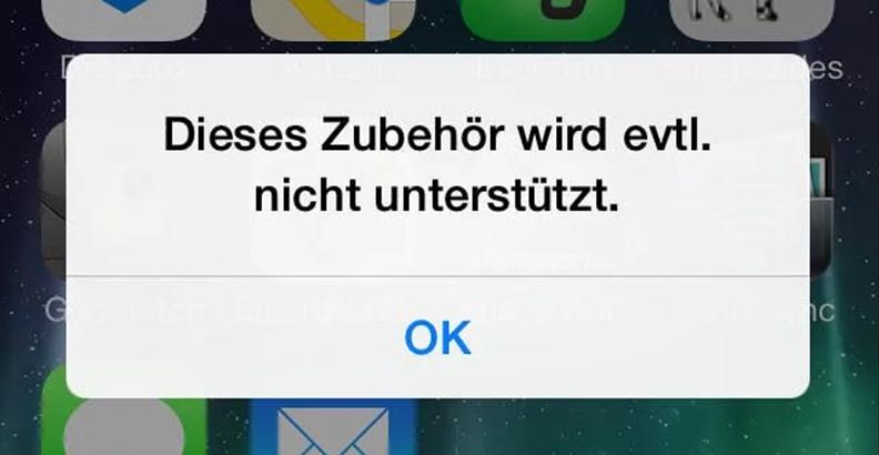 iPhone Zubehör wird nicht unterstützt umgehen