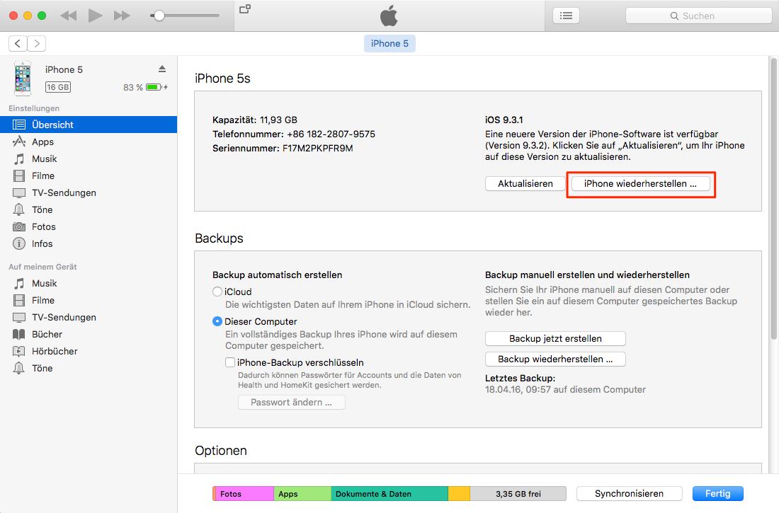 iPhone 6s/6/5s/5/4s/4 zurücksetzen über iTunes
