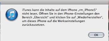 iPhone Inhalte von iTunes nicht erkannt wurde