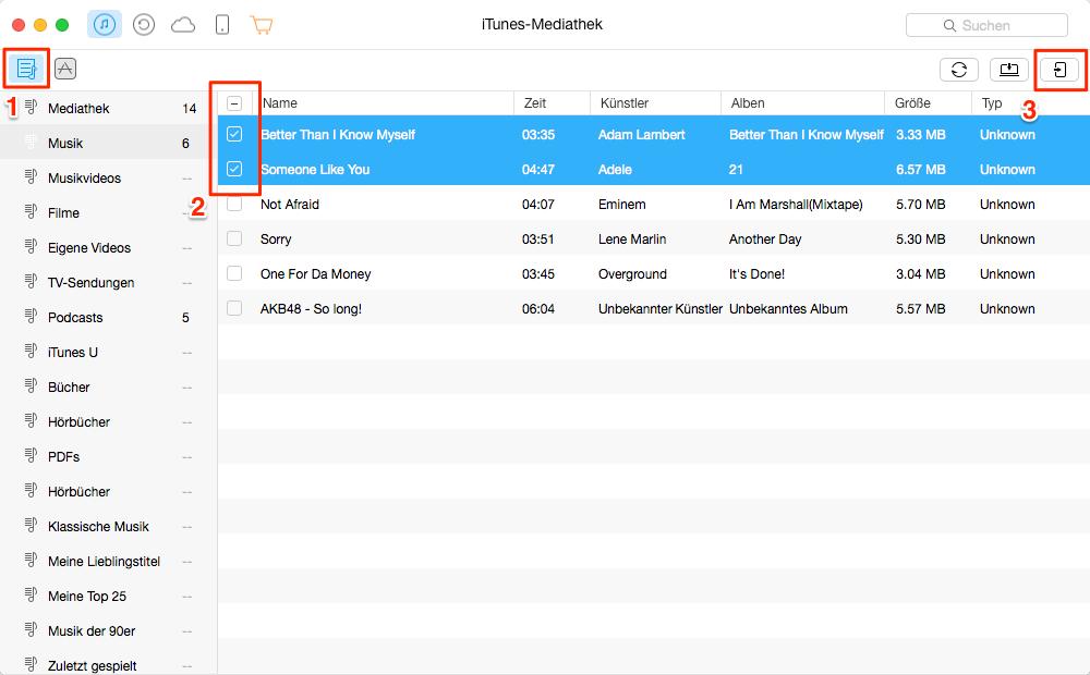 Daten zwischen iTunes und iPhone übertragen – mit iTunes