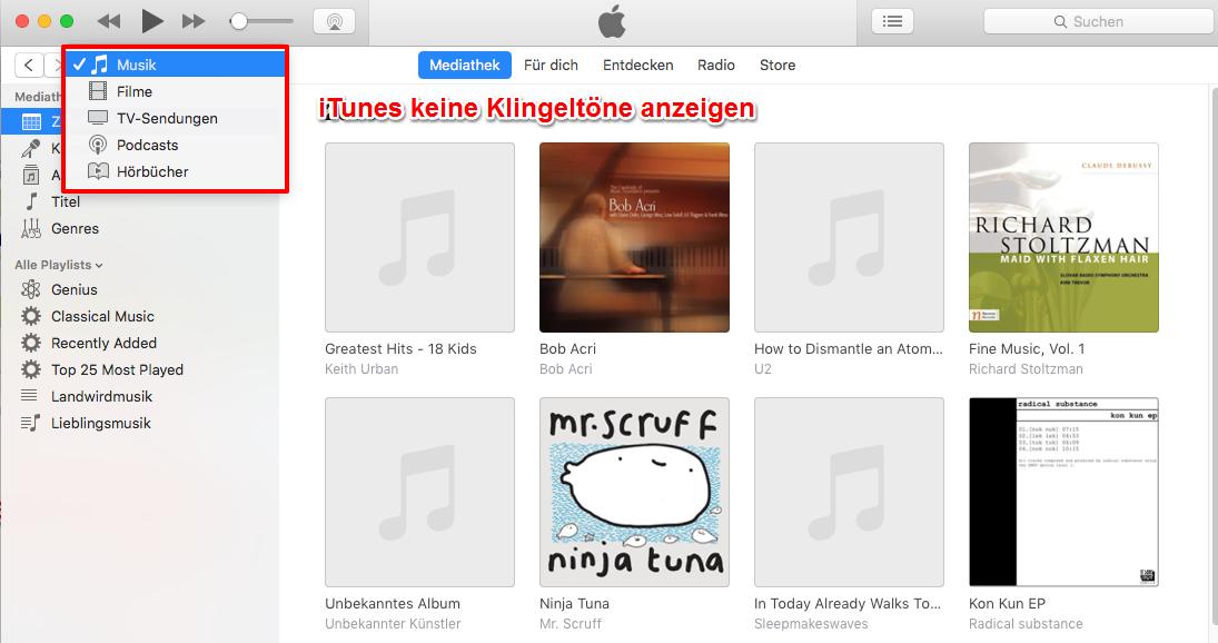 iTunes 12.7 Klingeltöne - iTunes Töne werden nicht anzeigen