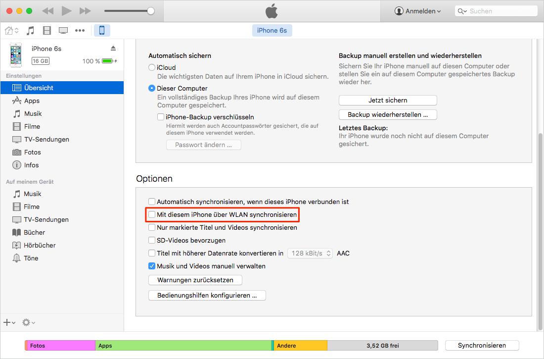 iTunes WLAN Sync funktioniert nicht
