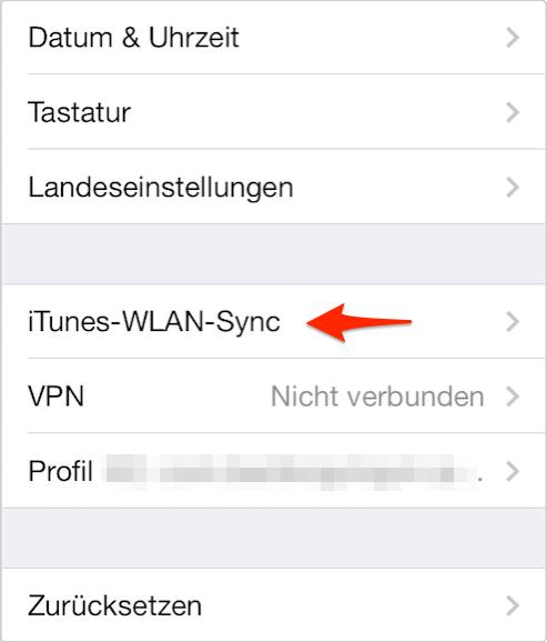 iTunes-WLAN-Sync auf dem iPhone überprüfen