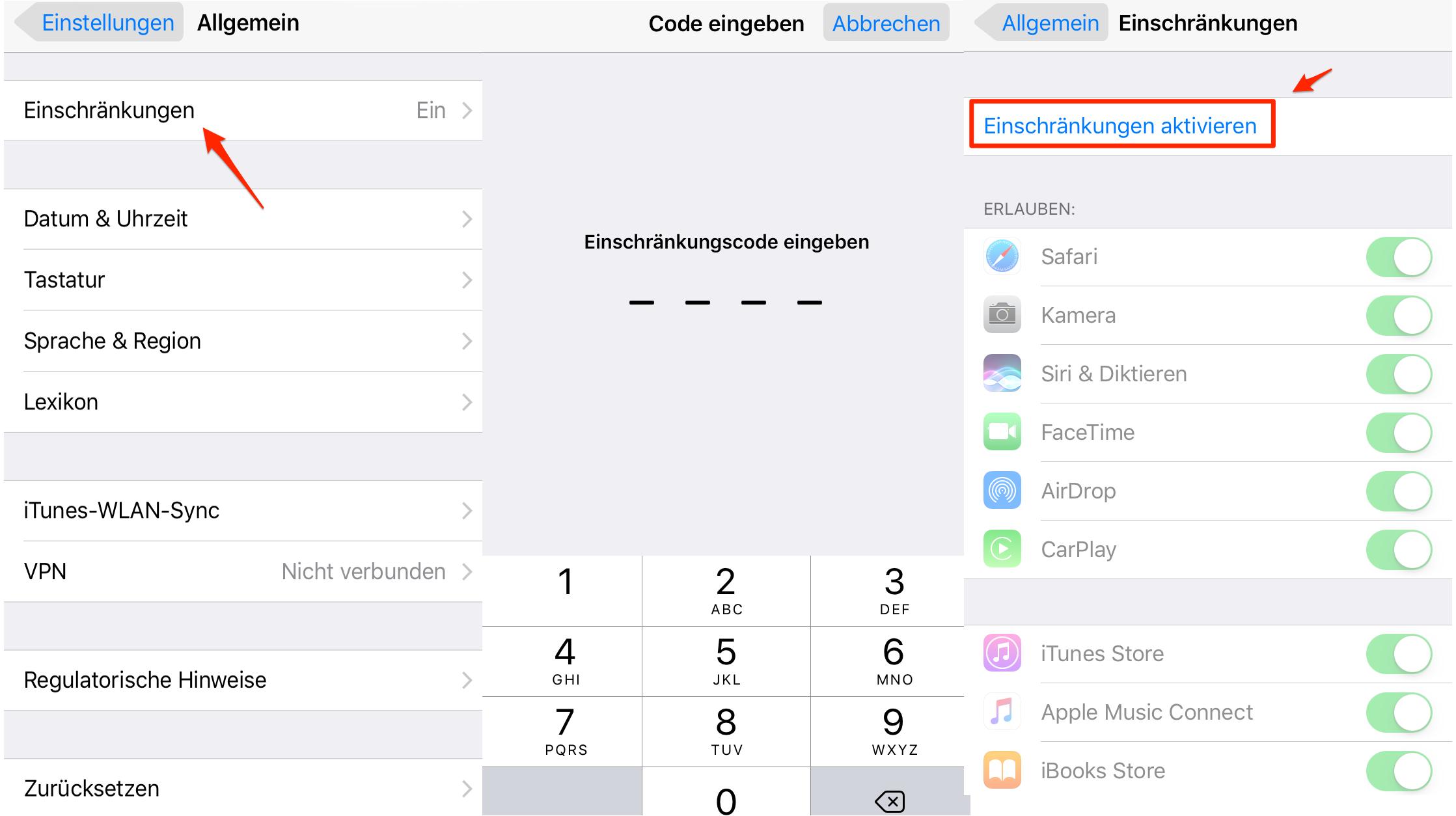 Einschränkung auf dem iPhone/iPad einrichten – Schritt 1