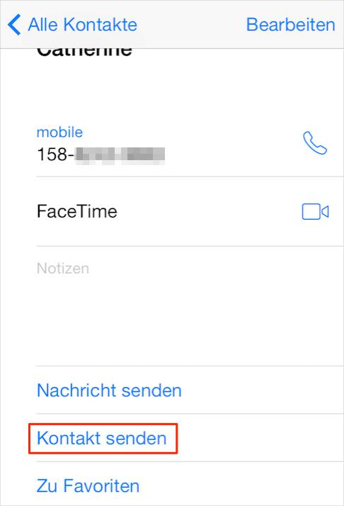 Kontakte mit iMessage senden – Schritt 3