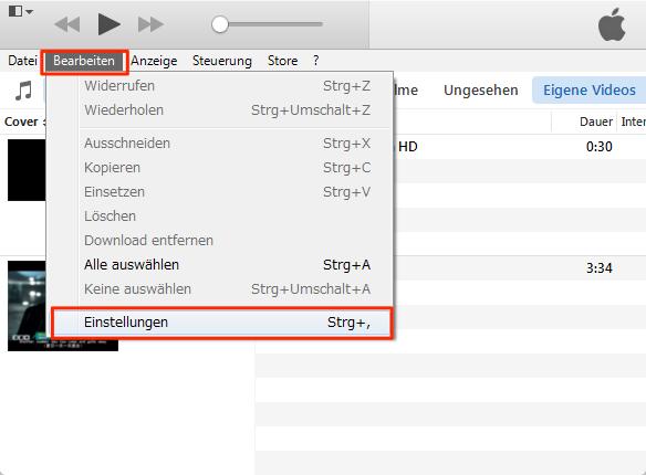 Lieder vom PC auf iTunes – Schritt 2
