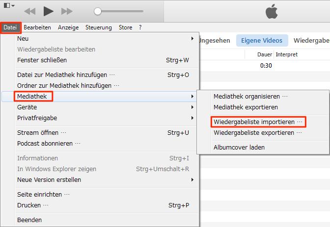 Lieder und Wiedergabeliste vom PC auf iTunes – Schritt 4