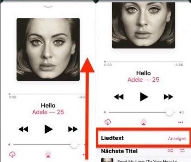 In der Musik-App kann man Liedtext anzeigen lassen