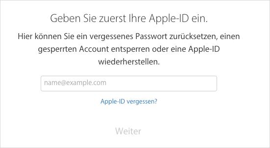 Apple-ID-Passwort zurücksetzen – Methode 1