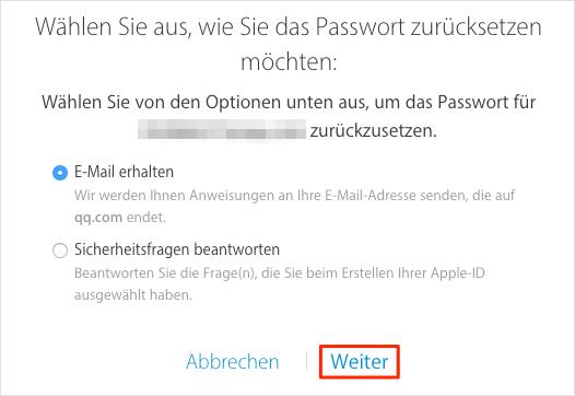 Was tun, wenn Ihr Apple-ID-Passwort vergessen – Methode 1