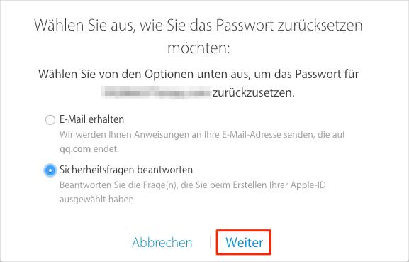 Apple-ID-Passwort wiederherstellen – Methode 2