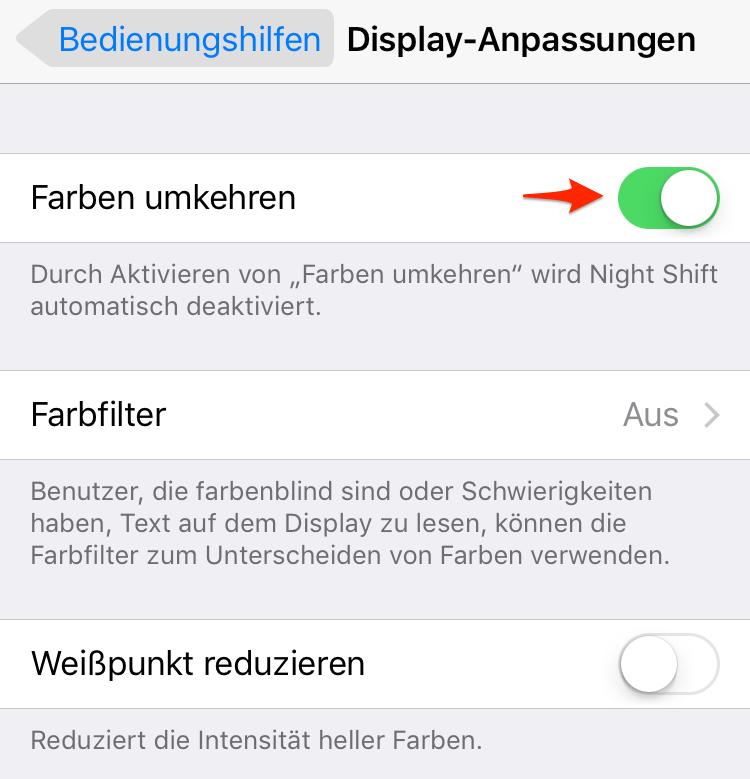Farben umkehren unter iOS 11 & iOS 11.1 aktivieren