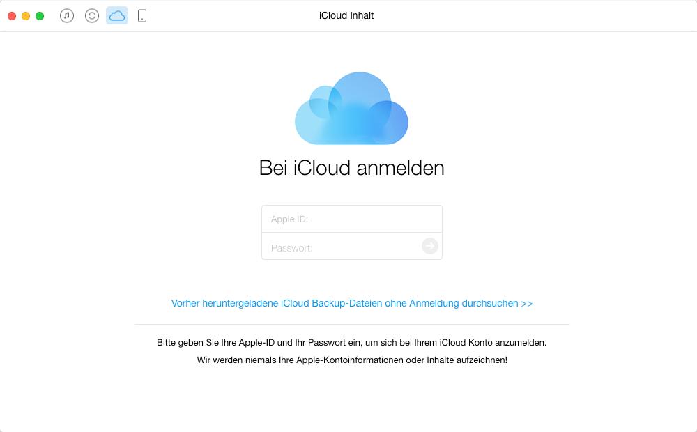 Über AnyTrans die Dateien aus iCloud extrahieren