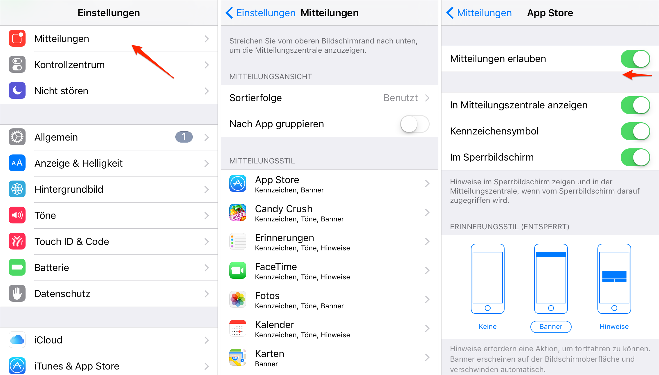 Pusch-Benachrichtigungen auf iPhone/iPad deaktivieren