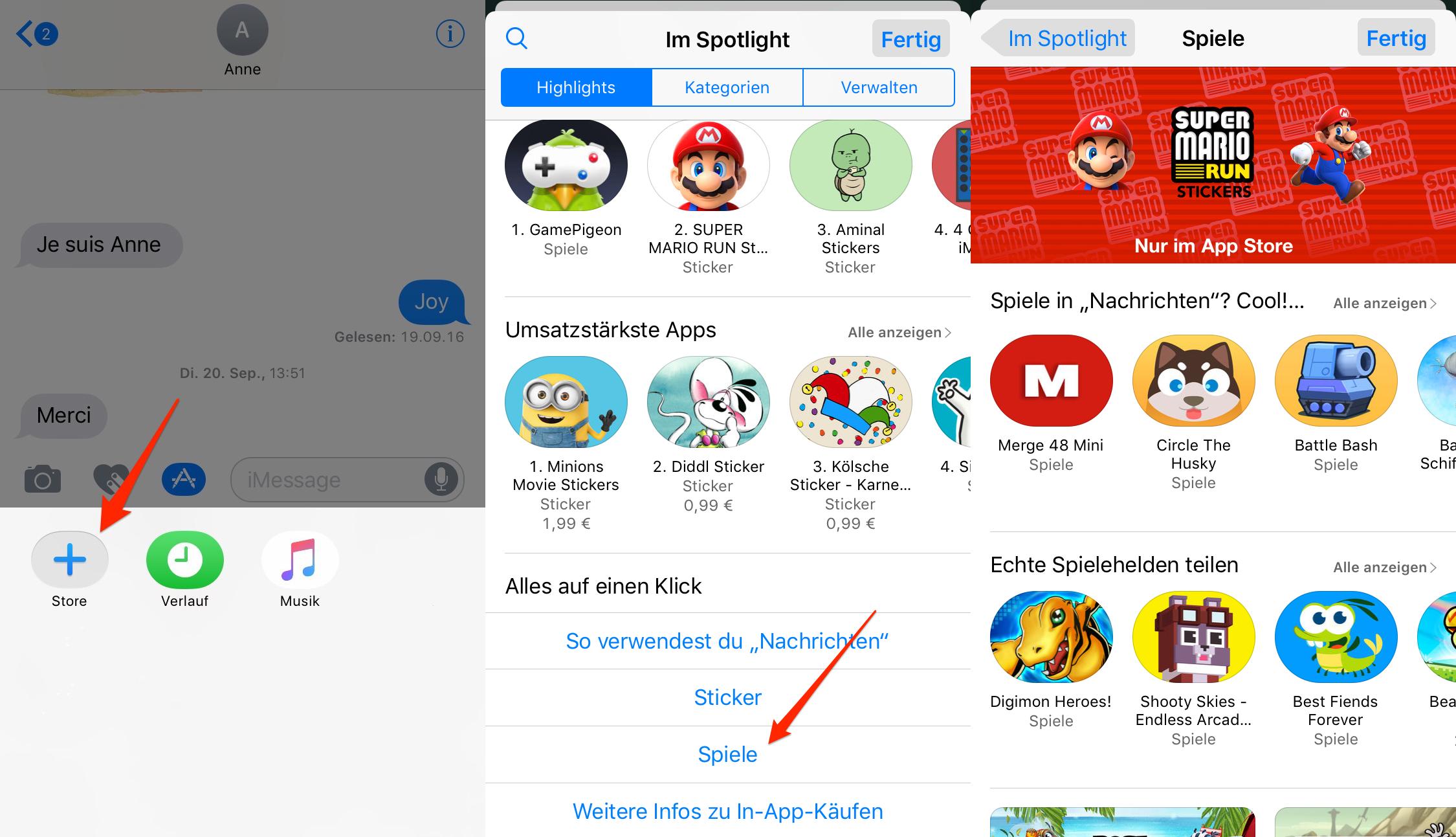 iOS 11 – Spiele in iMessage laden und installieren