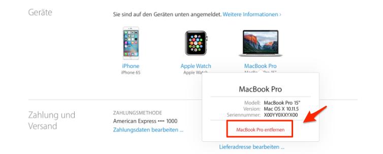 Geräte am Computer unter Apple-ID löschen