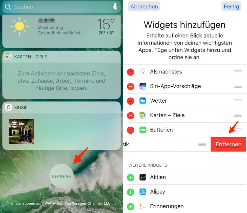 iOS 10/10.1/10.2: Widgets löschen