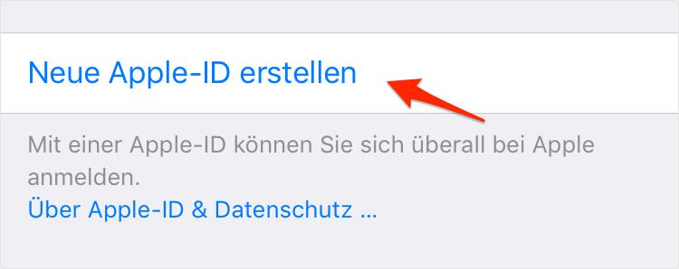 Apple-ID auf dem iPhone erstellen - Schritt 1