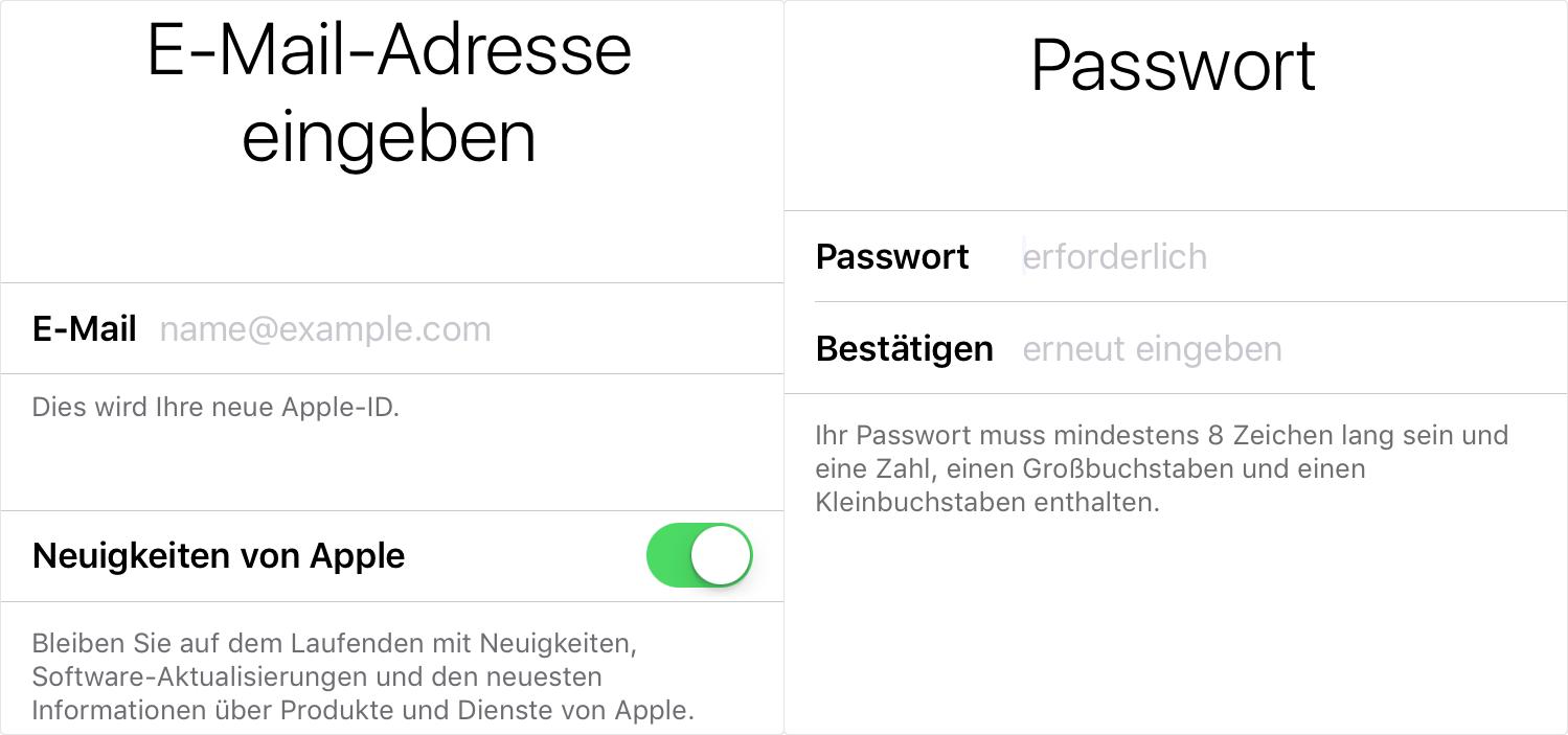 E-Mail-Adresse bearbeiten und Passwort erstellen.- Schritt 3