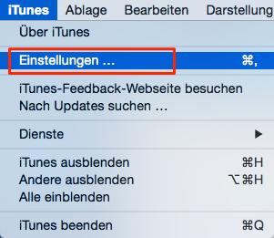 Auf iTunes Einstellungen klicken