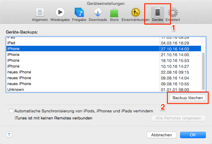 iTunes Backup löschen