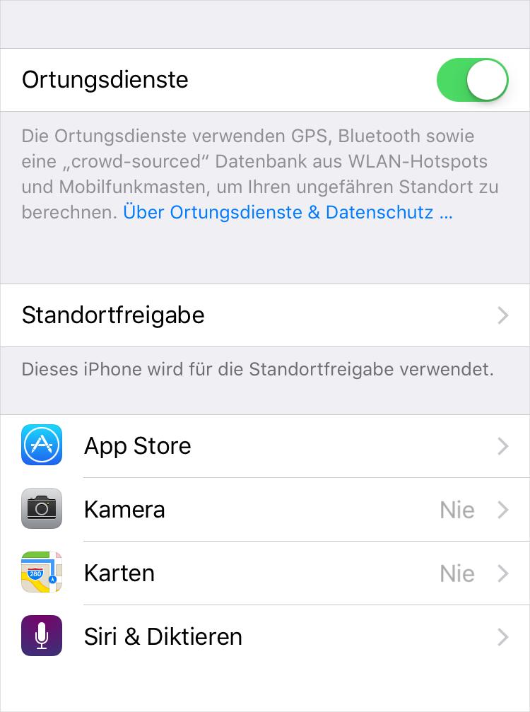 iPhone Ortungsdienst ausschalten