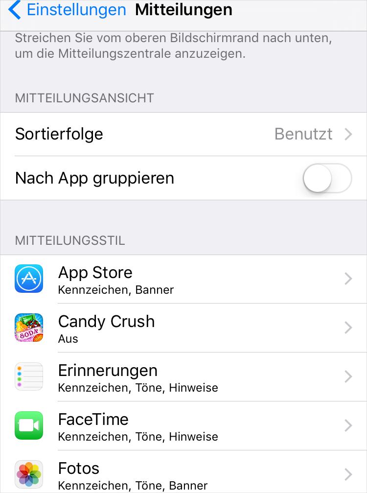 Mitteilung der Apps auf dem iPhone ausschalten