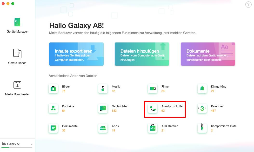 Anrufliste auf Android-Geräten auswählen