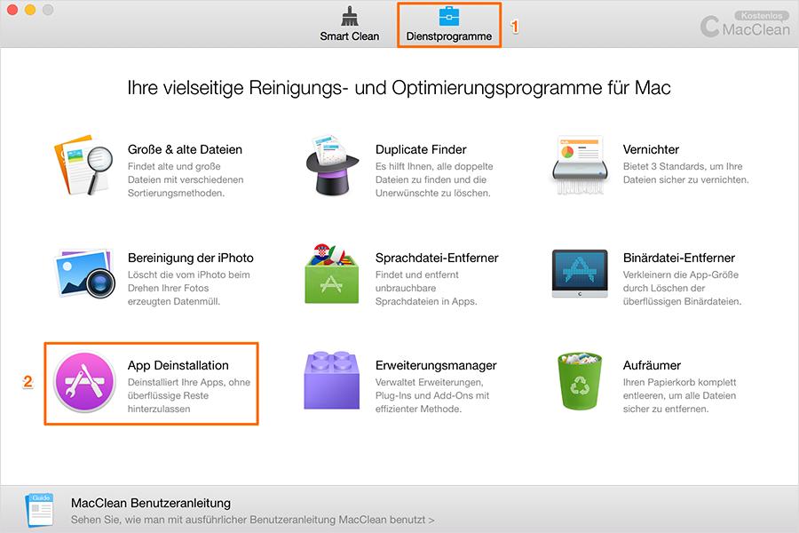 App Deinstallation wählen – Schritt1