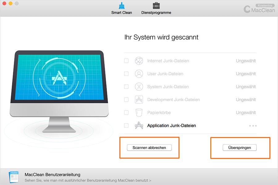 Die Applikation Junk-Dateien scannen – Schritt 2