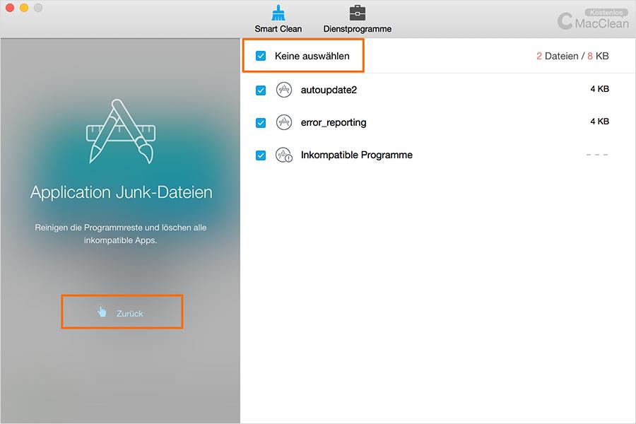 Die Junk-Dateien reinigen – Schritt 3