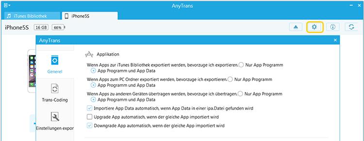 apps allgemeine einstellungen