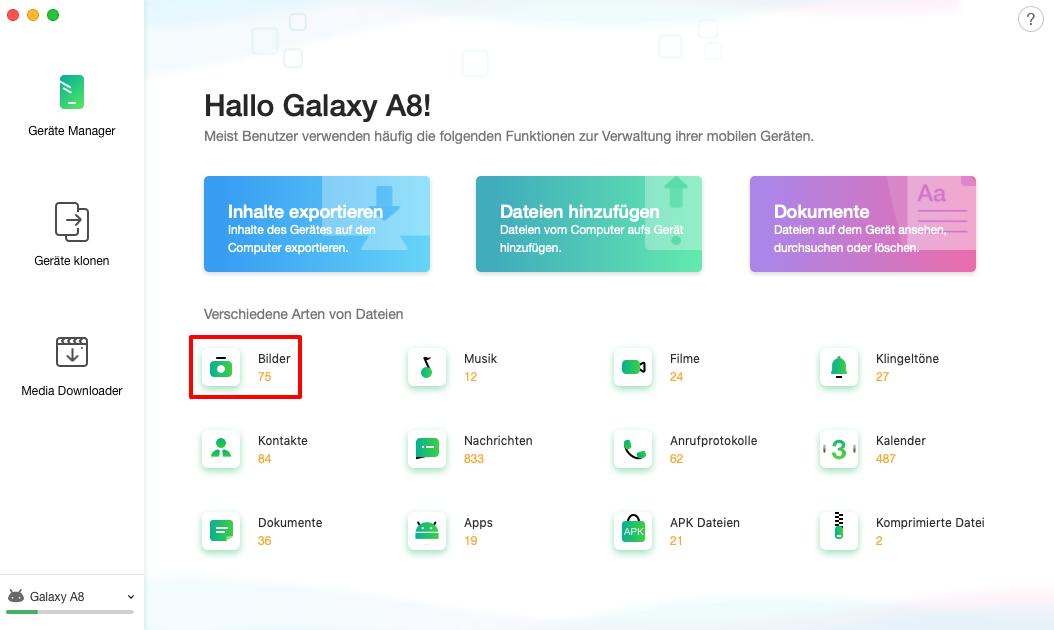 Android-Gerät verbunden
