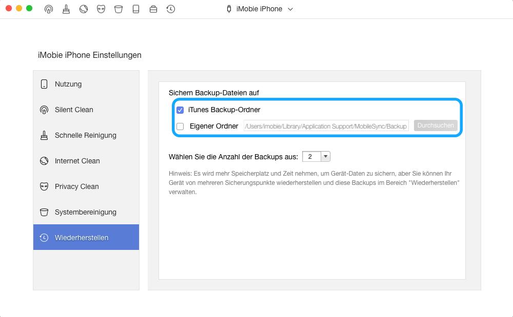 Backup Verwaltung