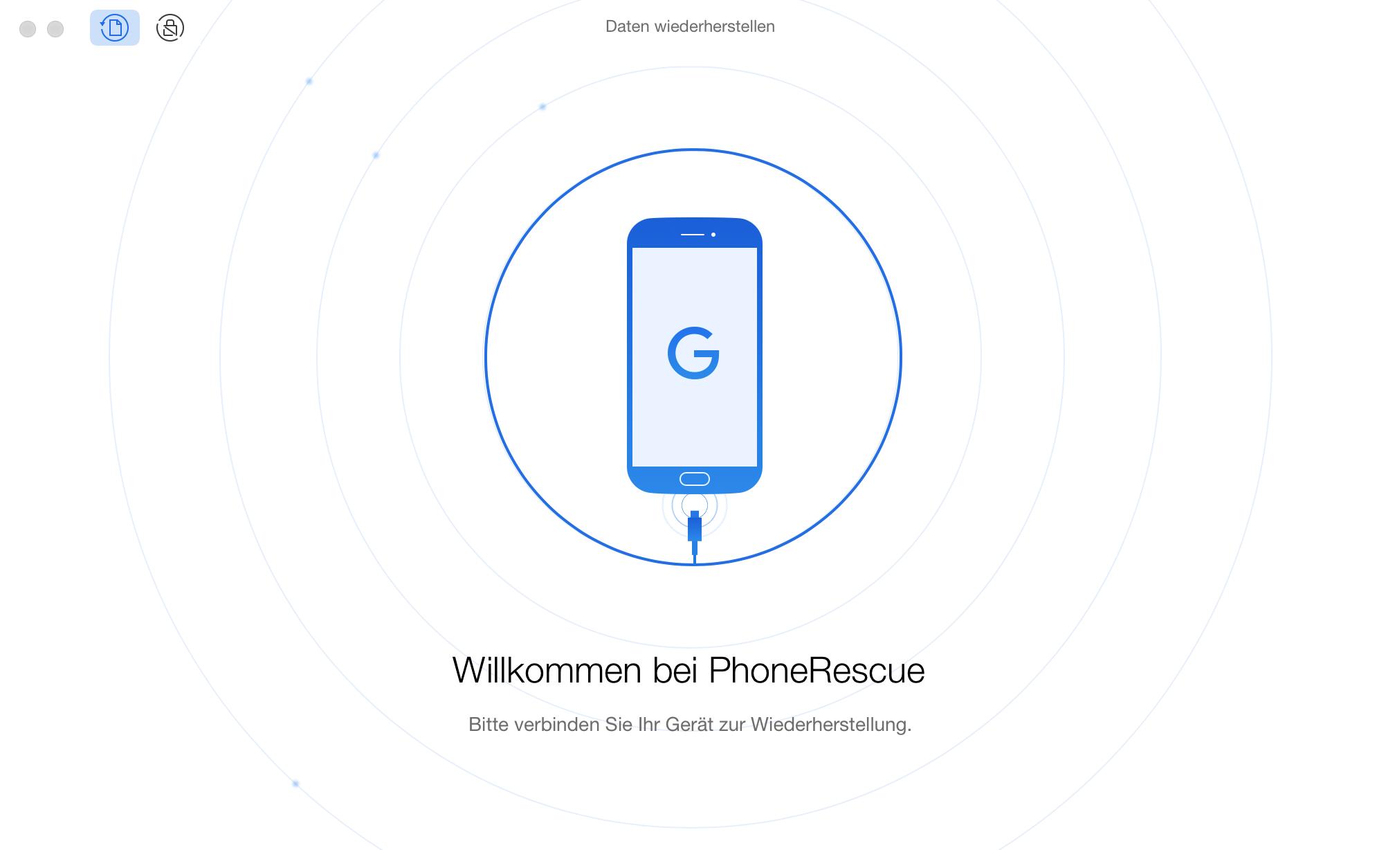 Startfenster von PhoneRescue für Google